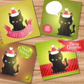Christmas black cat with Santa Claus hat cards. — Stock Vector