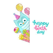 Happy Birthday card background with cute cartoon owl — Stock Vector
