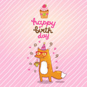 Happy Birthday card background with cute cartoon hipster fox — Stock Vector