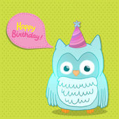 Happy Birthday card background with cute cartoon owl — Stok Vektör