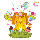 Happy Birthday greeting card background with a baby lion — Stock vektor