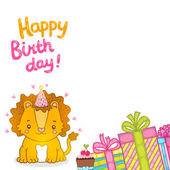 Fondo de la tarjeta de felicitación feliz cumpleaños con un león bebé — Vector de stock