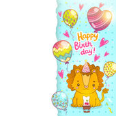 Happy Birthday greeting card background with a baby lion — Stock Vector