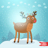 Merry Christmas greeting card background with deer — Stock Vector