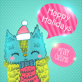 Merry Christmas greeting card background with an owl — Stockvector