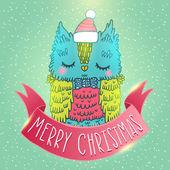 Fondo de la tarjeta de felicitación de navidad feliz con un búho — Vector de stock