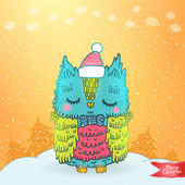 Merry Christmas greeting card background with an owl — Stock Vector