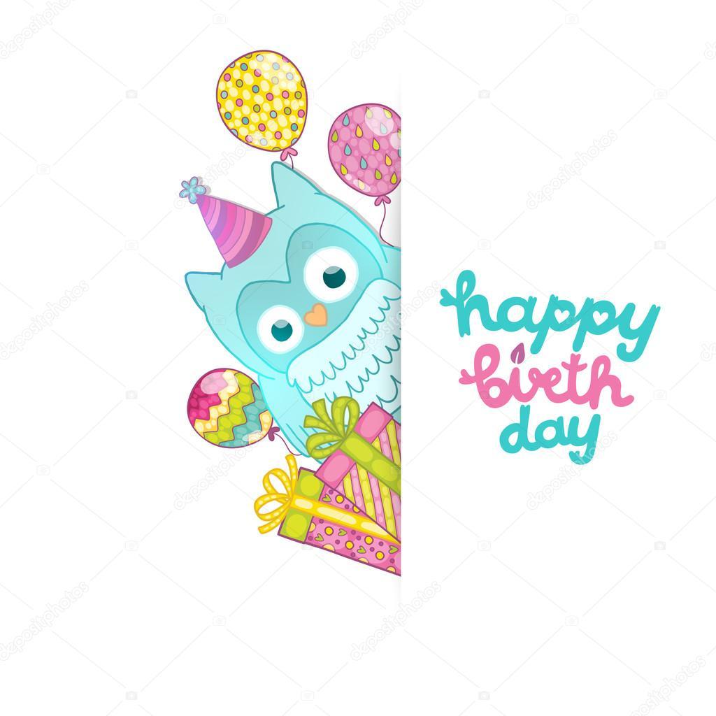 Custom Card Template standard greeting card size template : Happy Birthday card background with cute cartoon owl u2014 Stock Vector ...