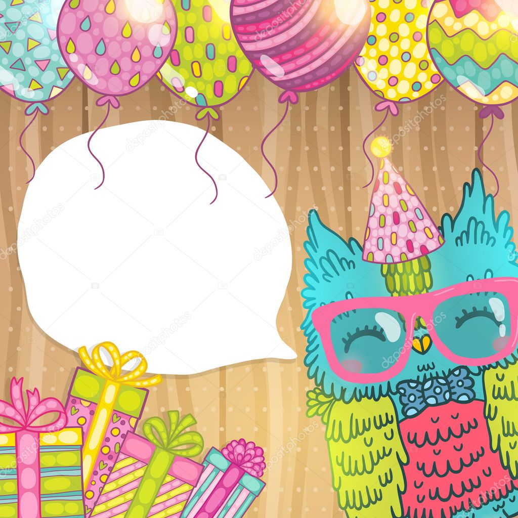Sfondo di carta buon compleanno con gufo simpatico cartone