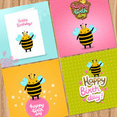 Happy Birthday card  with a bee. — Stock Vector