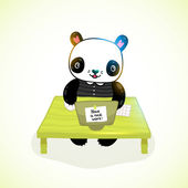 Panda working at computer — Wektor stockowy