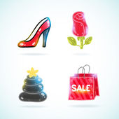 Shoe, rose, spa stones, sale bag — 图库矢量图片