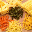 Uncooked pasta dishes — Stock Photo