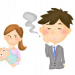 Illustration of a girl with a baby and a man smoking — Stock Photo
