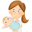 Illustration of a nurse with a baby — Stock Photo