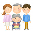 Older persons with family - illustration — Stock Photo