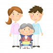 Helpers for elderly people - illustration — Stock Photo