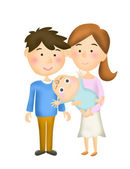 Illustration mother, father and baby — Stock Photo