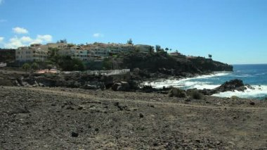 Rocky Tenerife South. Beautiful view to sea and rocks. — Stock Video
