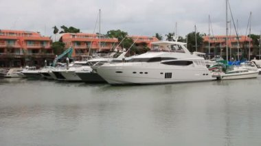 12.07.2013 - Phuket. Luxury yachts parked at Phuket Boat Lagoon Marina. — Stock Video