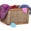 Dirty underwear lying in wicker basket — Stock Photo #33503609