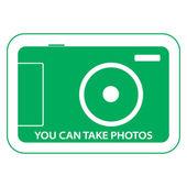 вы можете взять фотографии, наклейка разрешения фотографировать — Стоковое фото