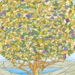Stained glass window tree of life, paradise tree — Stock Photo