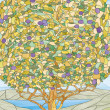 Stock Photo: Stained glass window tree of life, paradise tree