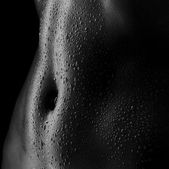 Sexy women's tummy in drops of sweat, ABS — Stock Photo