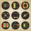 Vector psychedelic photography icons — Stock Vector