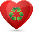 Big Red Heart With Recycle Symbol - Vector Illustration — Stock Vector