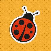 Vector retro ladybug sticker — Stock Vector