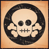 Vector grunge skull icon — Stockvector