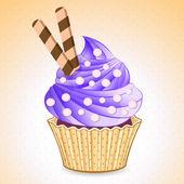 Vector cute cupcake stickers — Stock Vector