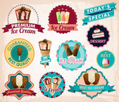 Vector ice cream stickers — Stock Vector