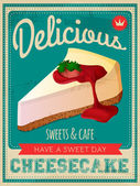Vector vintage styled cheesecake poster — Stock Vector