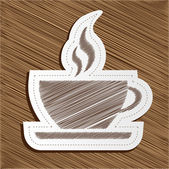 Vector coffee cup sticker — Stock Vector