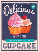 Vector vintage styled cupcakes poster — Stock Vector