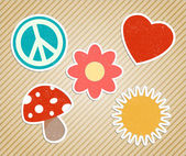 Vector vintage hippies sticker — Stock Vector