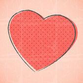 Vector retro coração esboçado — Vetor de Stock