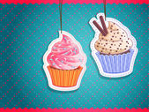Vector cute cupcake stickers — Stock Vector