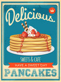 Vector vintage styled pancakes poster — Stock Vector