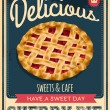 Vector vintage styled cherry pie poster — Stock Vector