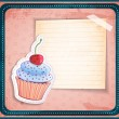Vector vintage cupcake sticker with a place for text on old paper — Stock Vector #32980647