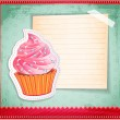 Vector vintage cupcake sticker with a place for text on old paper — Stock Vector