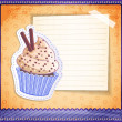 Vector vintage cupcake sticker with a place for text on old paper — Stock Vector #32980727
