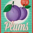 Vector vintage styled fresh plums poster — Stock Vector