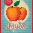 Vector vintage styled fresh apples poster — Stock Vector