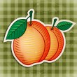Stock Vector: Vector vintage apricot sticker