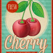 Vector vintage styled cherry poster — Stock Vector